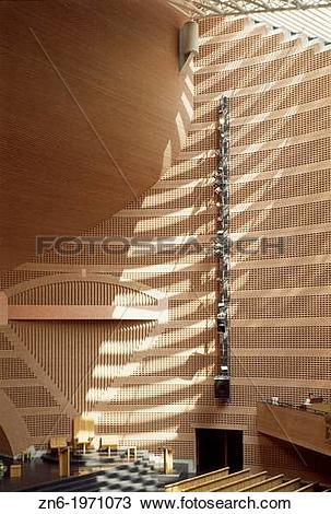 Stock Photo of EVRY CATHEDRAL, EVRY, FRANCE, MARIO BOTTA, INTERIOR.