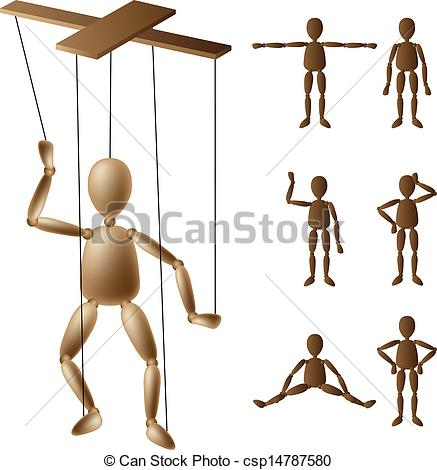 Vector of Marionette puppet set.