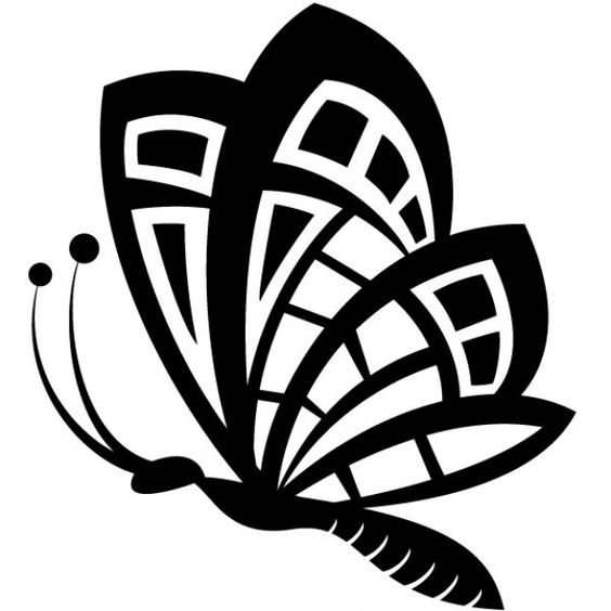 Black butterfly drawing vector clip art.