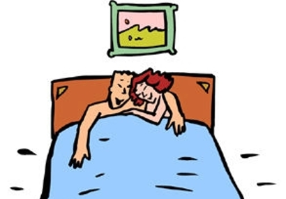 Clipart couples in bed.