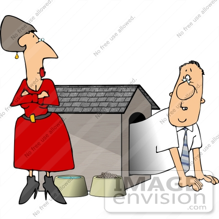 Caucasian Couple Having Marital Problems, Man in a Dog House.