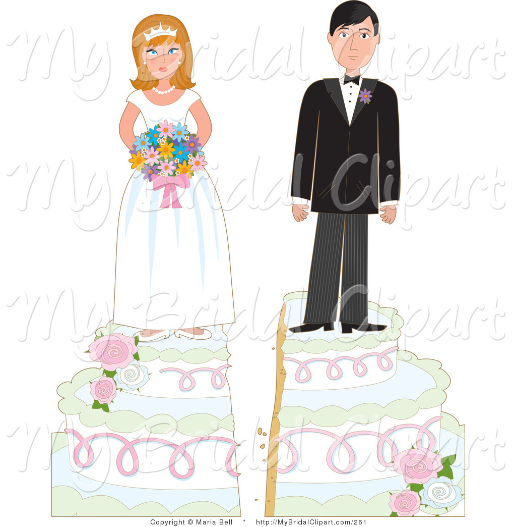 Bridal Clipart of a Young Bride and Groom on Top of a Tiered.