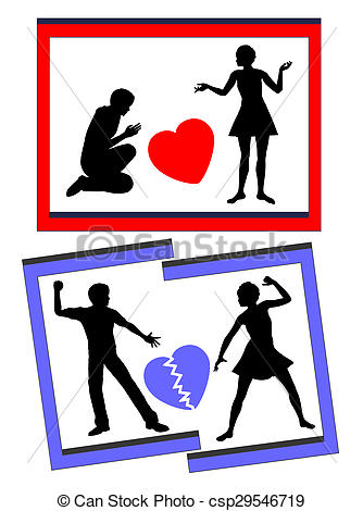 Clipart of Marriage and Divorce.