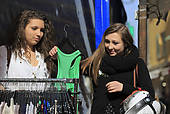 """Pictures of """"Two girlfriends, teens shopping, Menton, Maritime."""