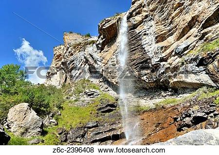 Pictures of Cascade d`Aiglière in the valley of the river Var.