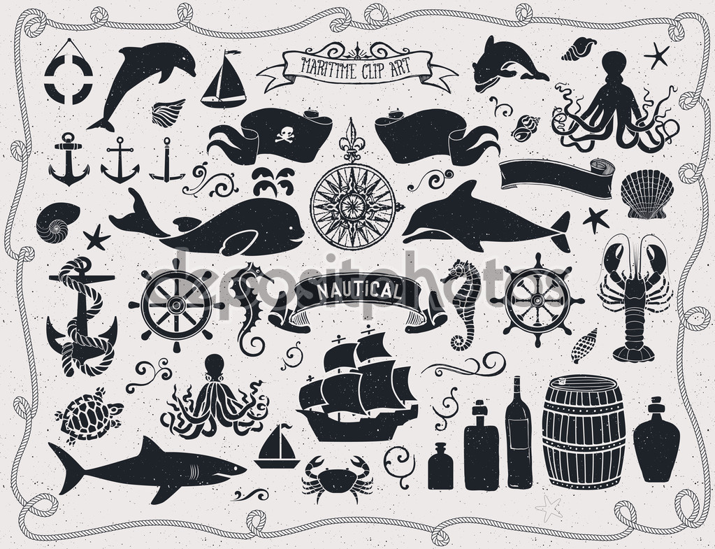 Maritime Clip Art — Stock Vector © LanaN. #63222165.
