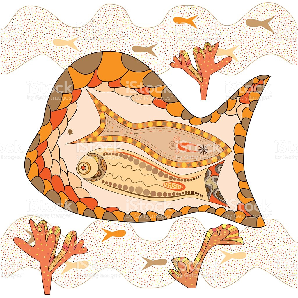 Graphic Maritime Landscape Of Brown And Beige Fish stock vector.