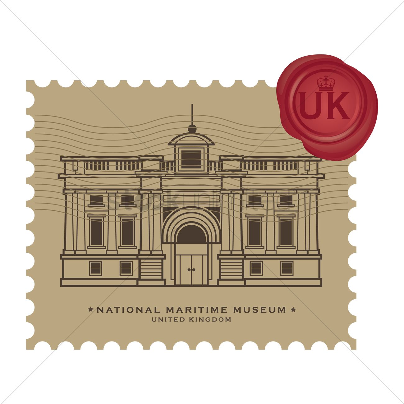 National maritime museum postage stamp Vector Image.