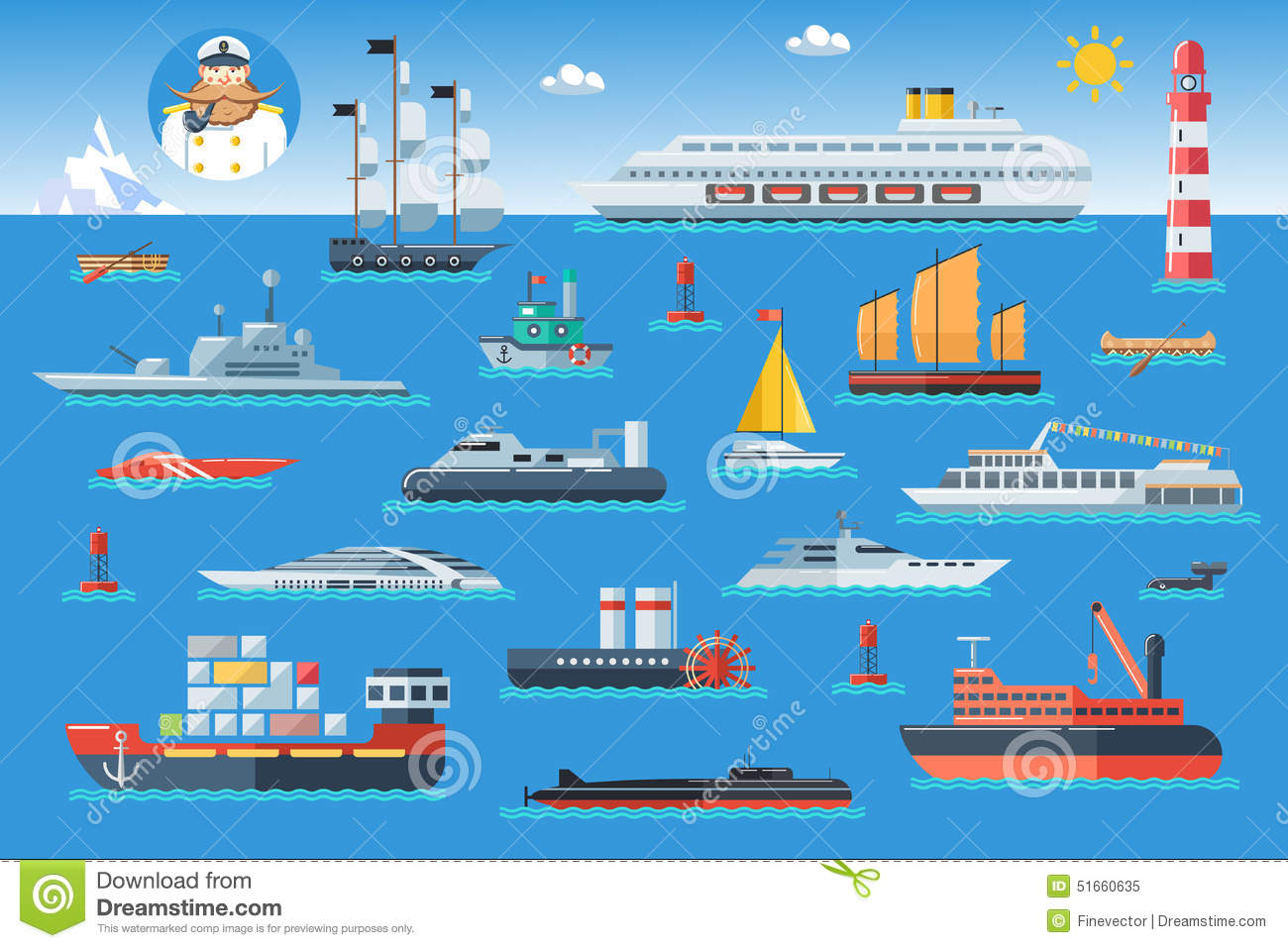 Big Set Of Sea Ships. Water Carriage And Maritime Transport In.