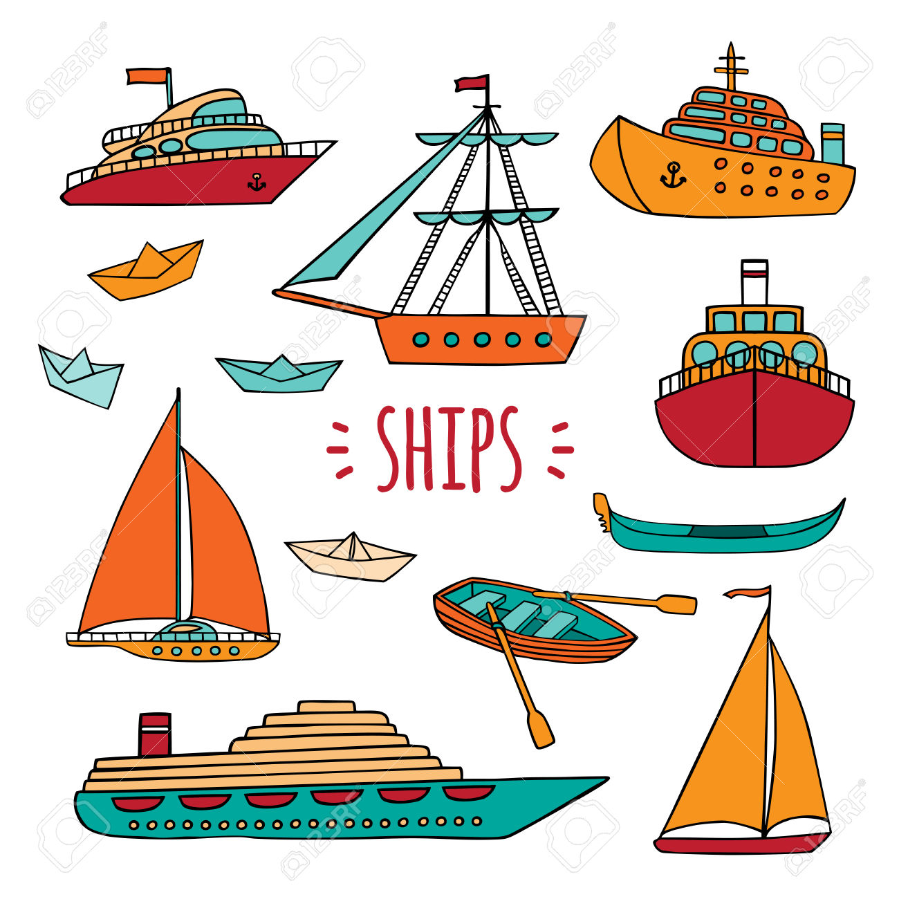 Set Of Maritime Transport In Doodle Style. Ship, Boat, Vessel.