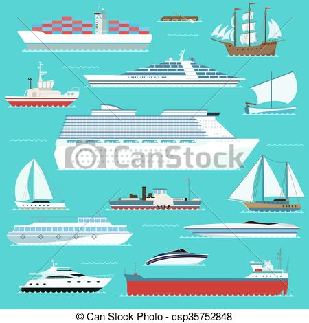 EPS Vector of Super set of water ships carriage maritime boat.