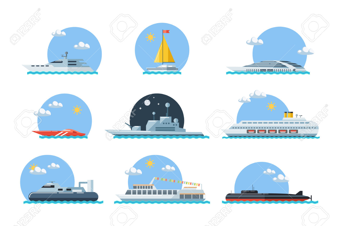 Set Of Sea Ships. Maritime Transport In Flat Design Style. Side.