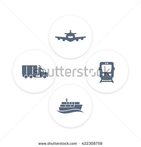 Transportation Industry Icons, Cargo Train Vector, Maritime.