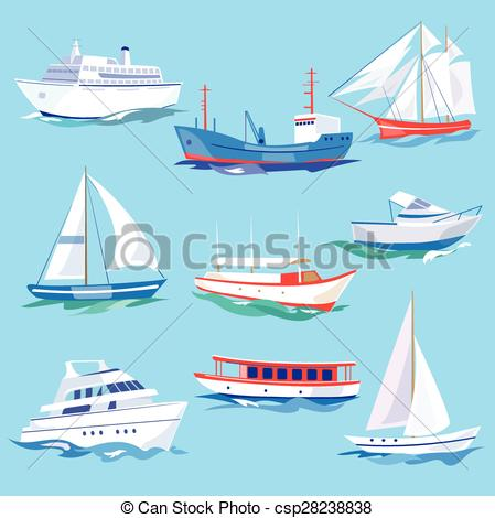 Vectors of Set of Sea Ships Water Carriage and Maritime Transport.