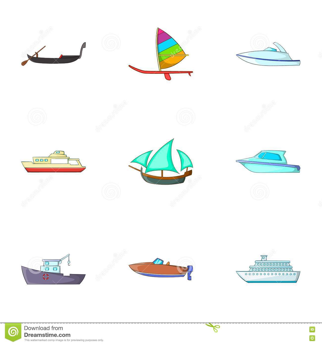 Maritime Transport Icons Set, Cartoon Style Stock Vector.