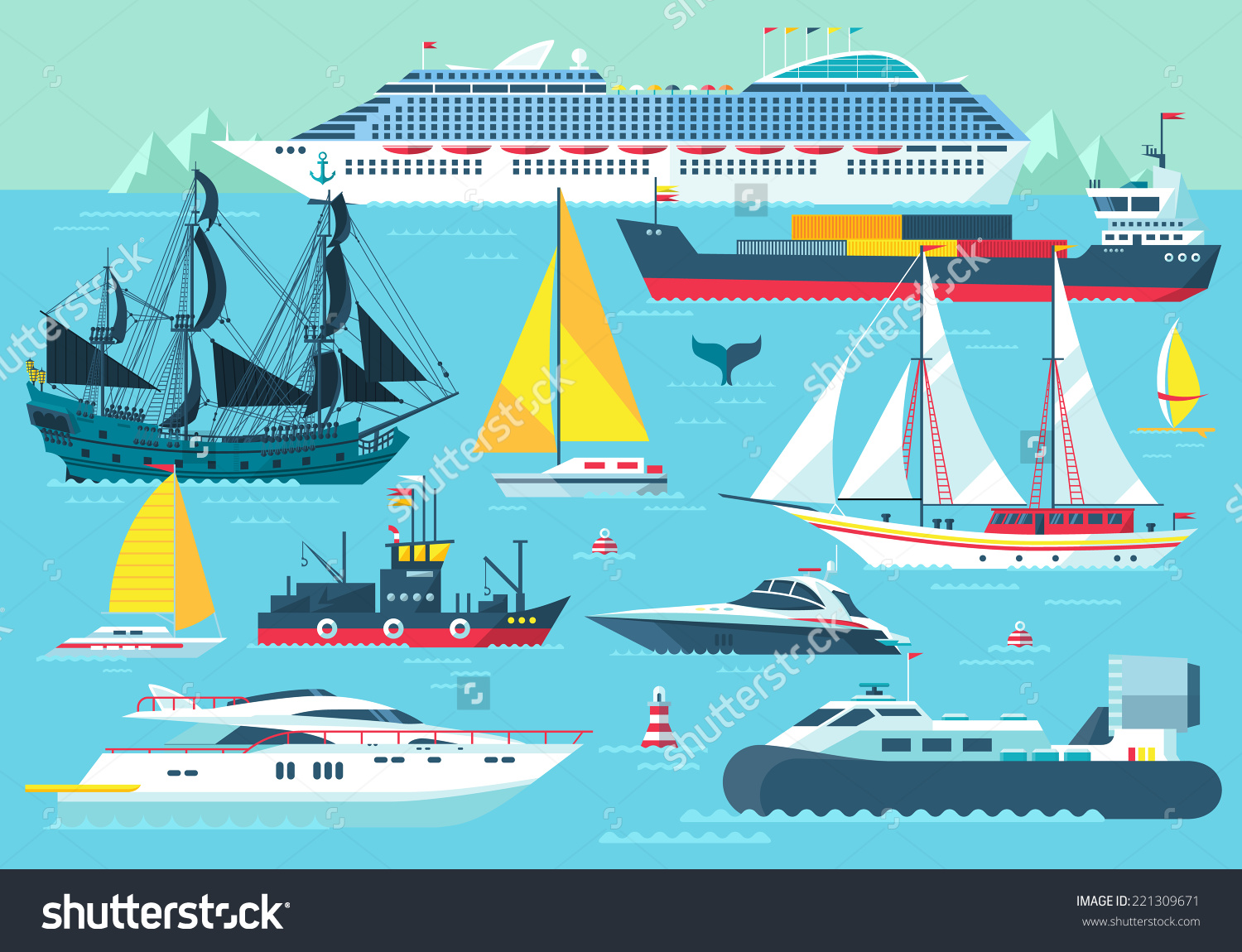 Super Set Water Carriage Maritime Transport Stock Vector 221309671.