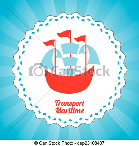 Vector Clipart of maritime transport design.