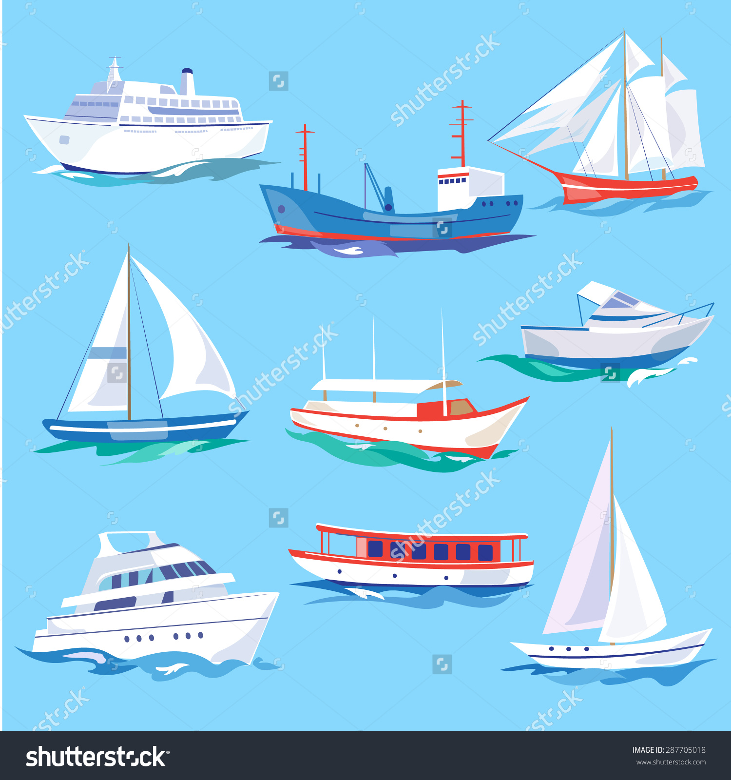 Set Sea Ships Water Carriage Maritime Stock Vector 287705018.