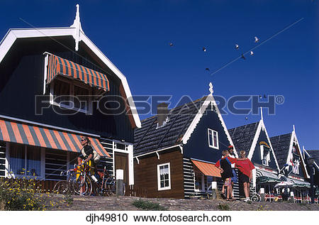 Stock Photography of Holland, Marken, Fishing Village djh49810.