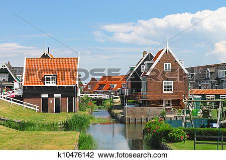 Stock Photo of Rural street on the island Marken. Netherlands.