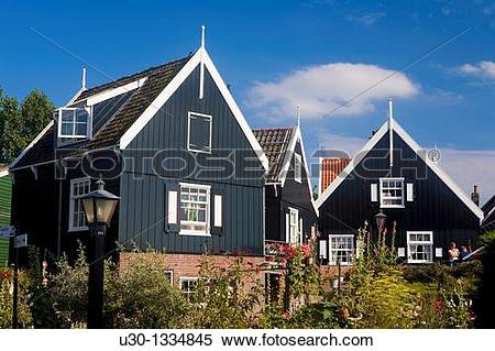 Stock Image of Typical dutch houses in the small town of Marken.