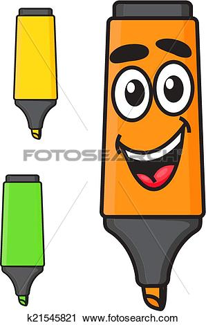 Clipart of Cartoon smiling marker character k21545821.