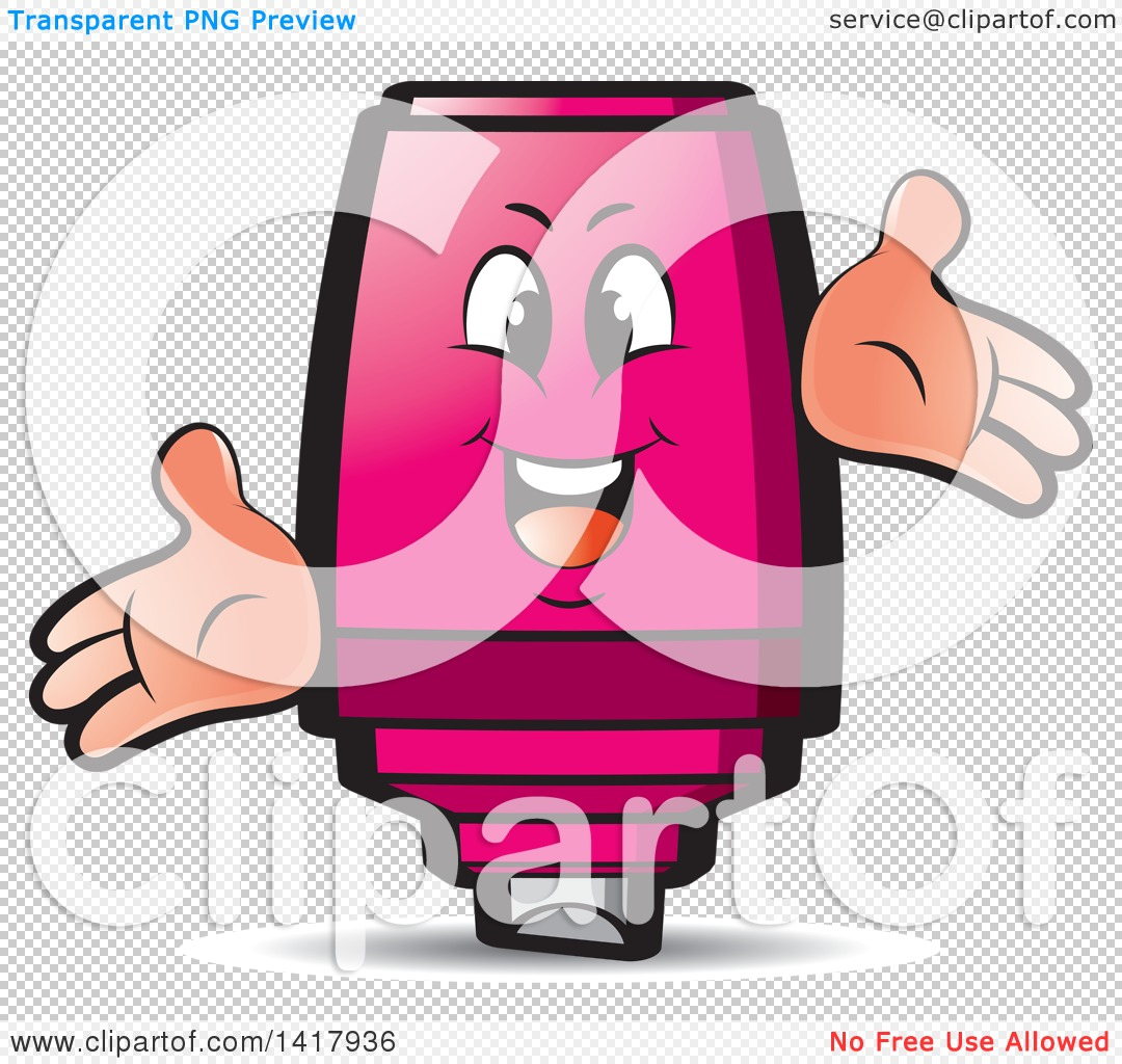 Clipart of a Happy Pink Marker Character.
