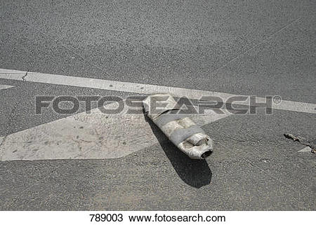 Stock Photo of A flattened road marker post 789003.