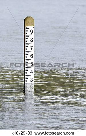 Stock Photo of Flood level water depth marker post k18729733.