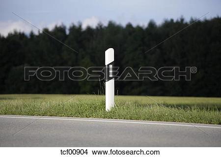 Stock Photo of Germany, Bavaria, Irschenhausen, Road Marker post.
