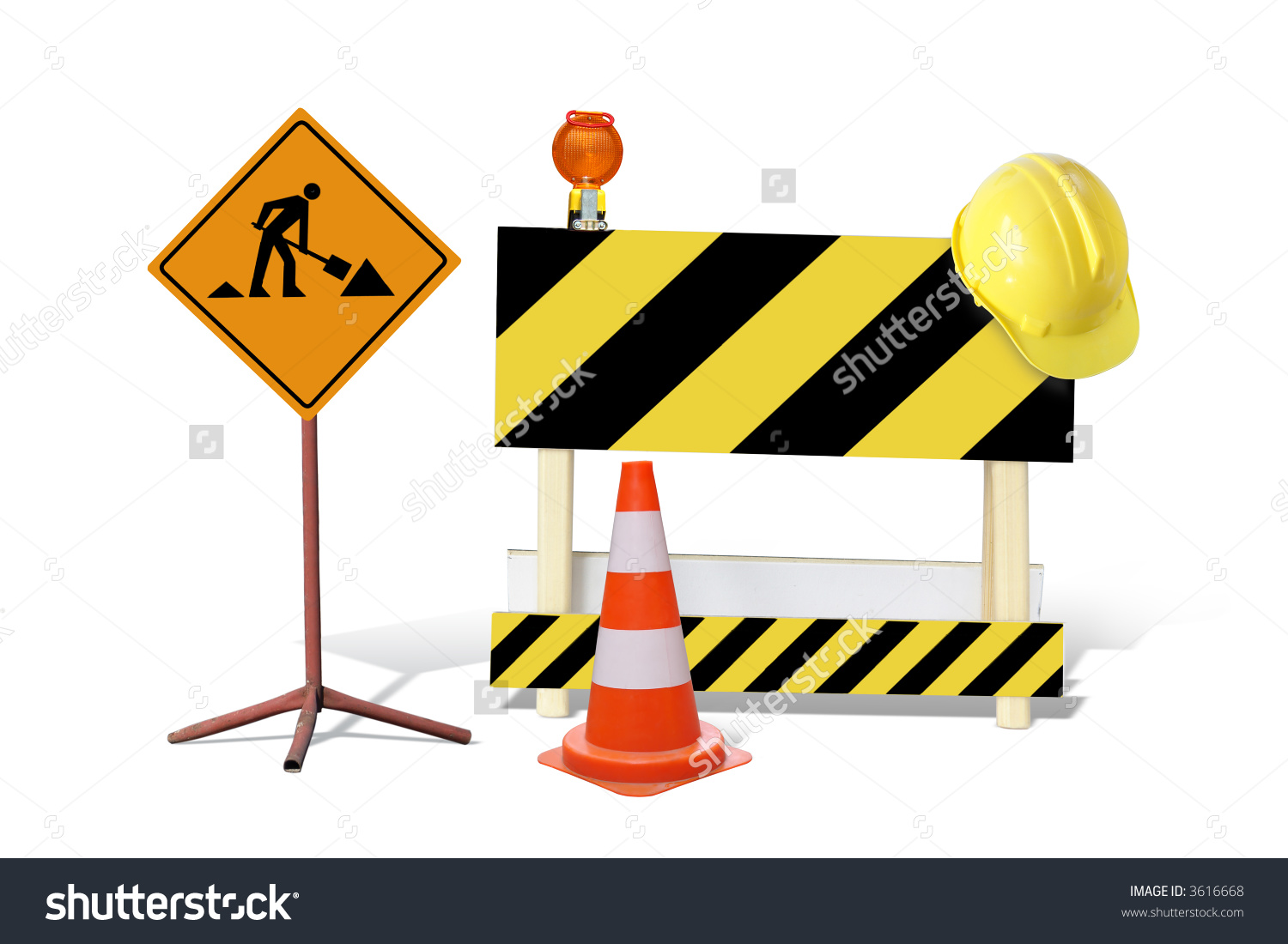 Road Construction Sign Yellow Black Striped Stock Photo 3616668.