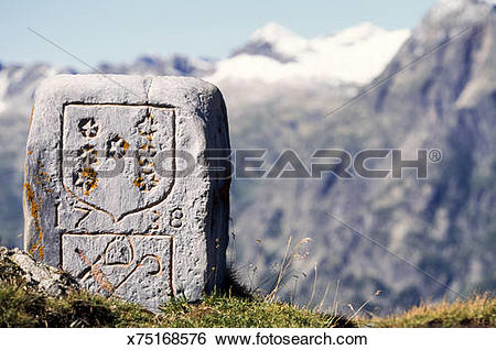 Stock Images of Ancient stone marker along French/Swiss border.