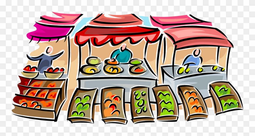 Vector Illustration Of Outdoor Farmer's Food Market.