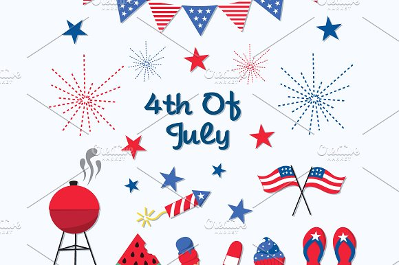 4th of July Independence Day Clipart ~ Illustrations on Creative.