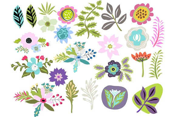 Flowers Clip Art Vector 24 Images ~ Illustrations on Creative Market.