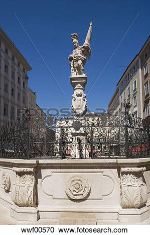 Stock Photography of Austria, Salzburg, Old market, Fountain and.