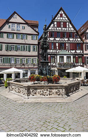"Stock Photo of ""Marketplace with Neptunbrunnen or market fountain."