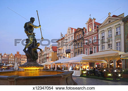 Stock Photo of Old Market Square with fountain in Poznan x12347054.