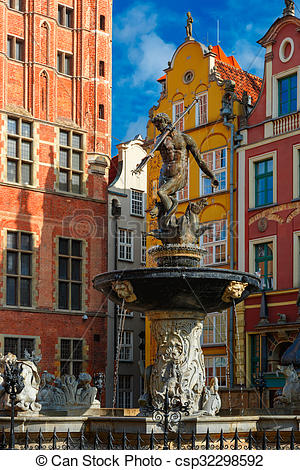 Stock Photographs of Fountain of Neptune on Long Market Street.