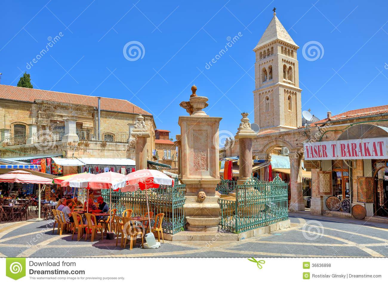 Muristan Fountain At Center Of Market Area In Jerusalem. Editorial.