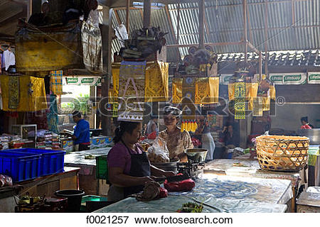 Picture of Indonesia, Bali, Jimbaran, market hall f0021257.