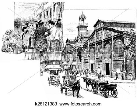 Drawing of The central aisle, Market Hall, vintage engraving.