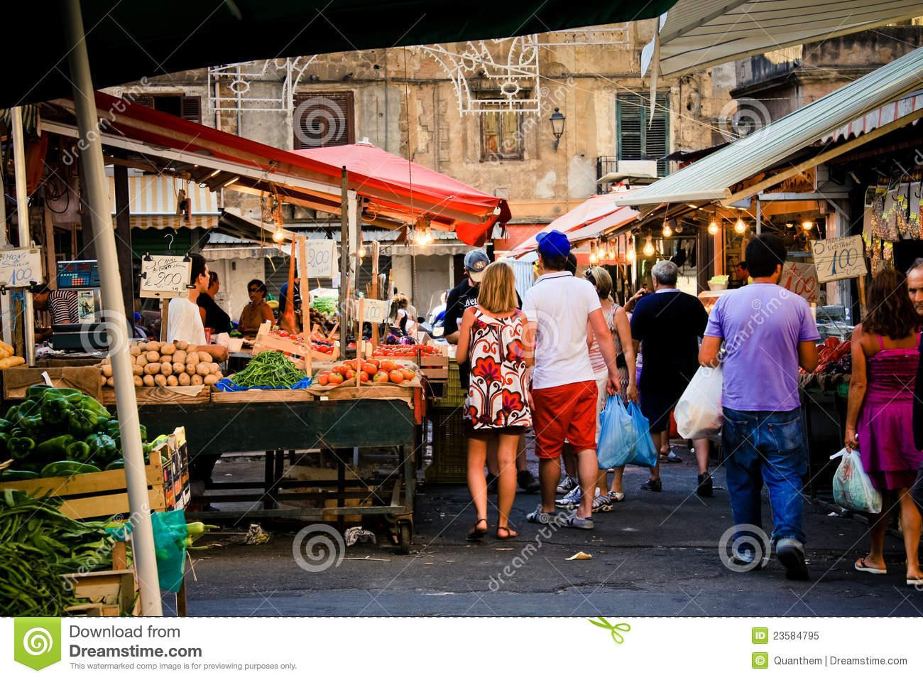 Palermo, Ballarò Fruit Market Editorial Image.