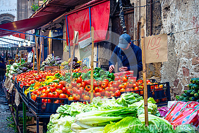 Sicilian Market In Palermo Editorial Photo.