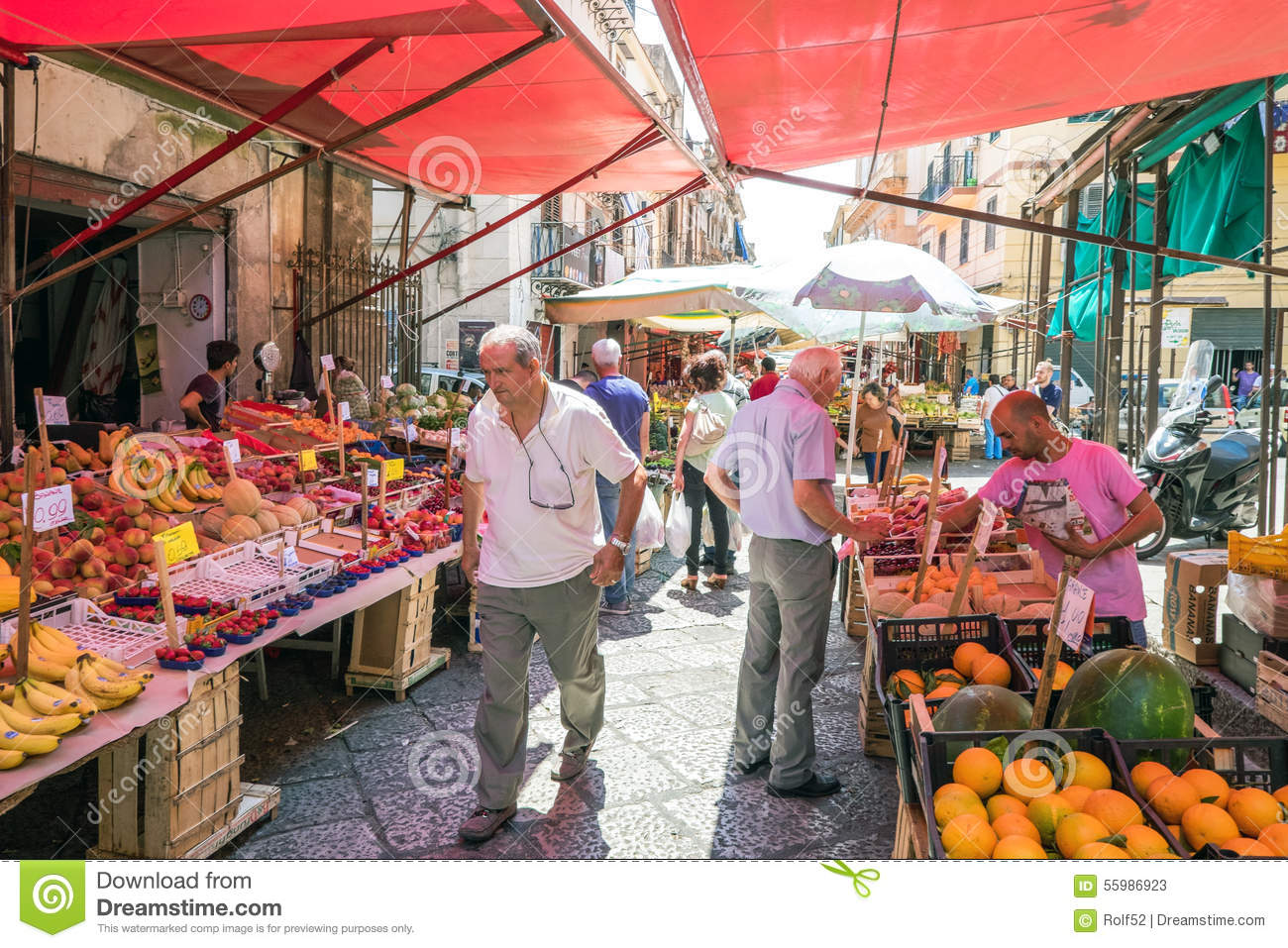 Sicilian Market In Palermo Editorial Stock Photo.