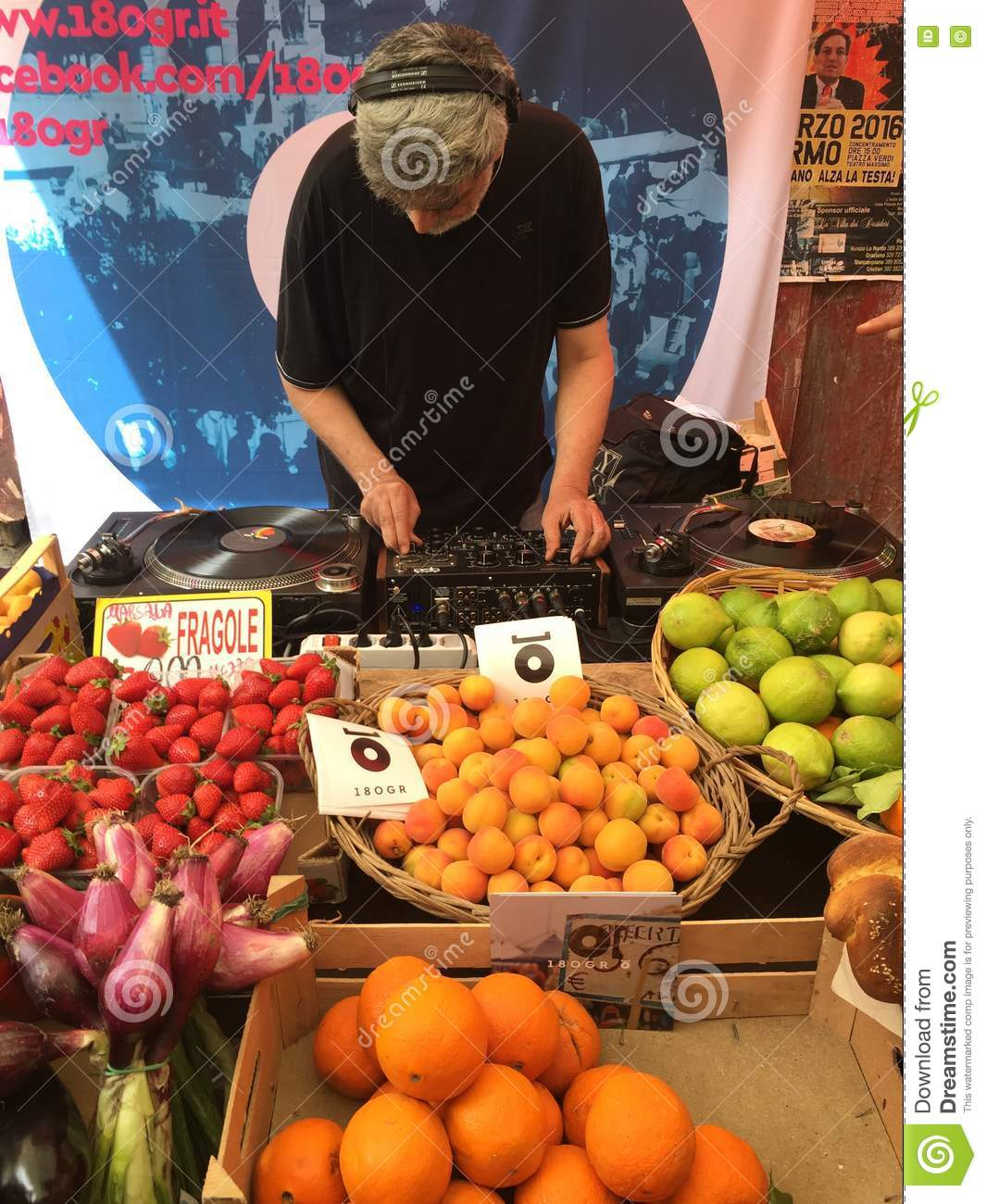 Organic Fruit Market In Palermo And Music Played By A Dj Editorial.