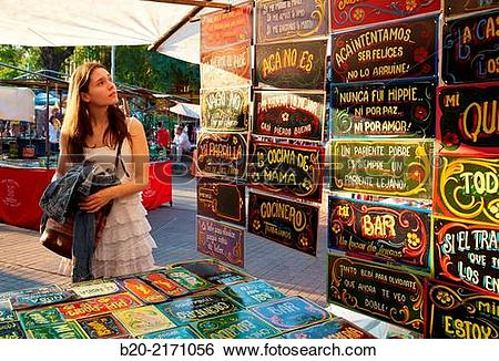 Stock Images of Sunday Market. Julio Cortazar Square. Palermo Soho.