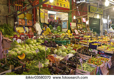 "Stock Photography of ""Market stalls in an alley, Palermo, Province."