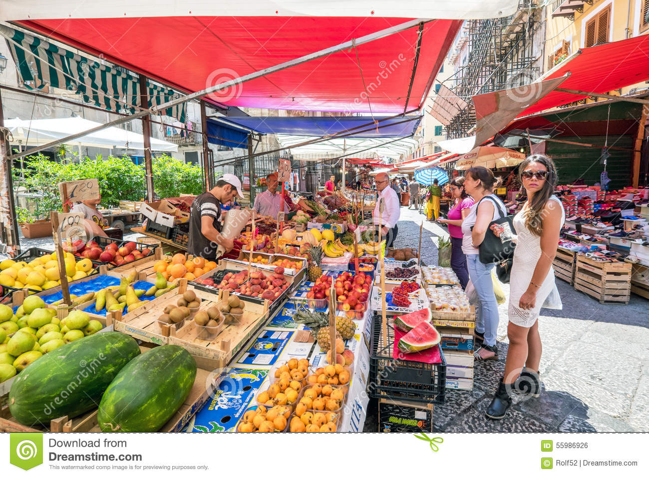 Sicilian Market In Palermo Editorial Stock Image.