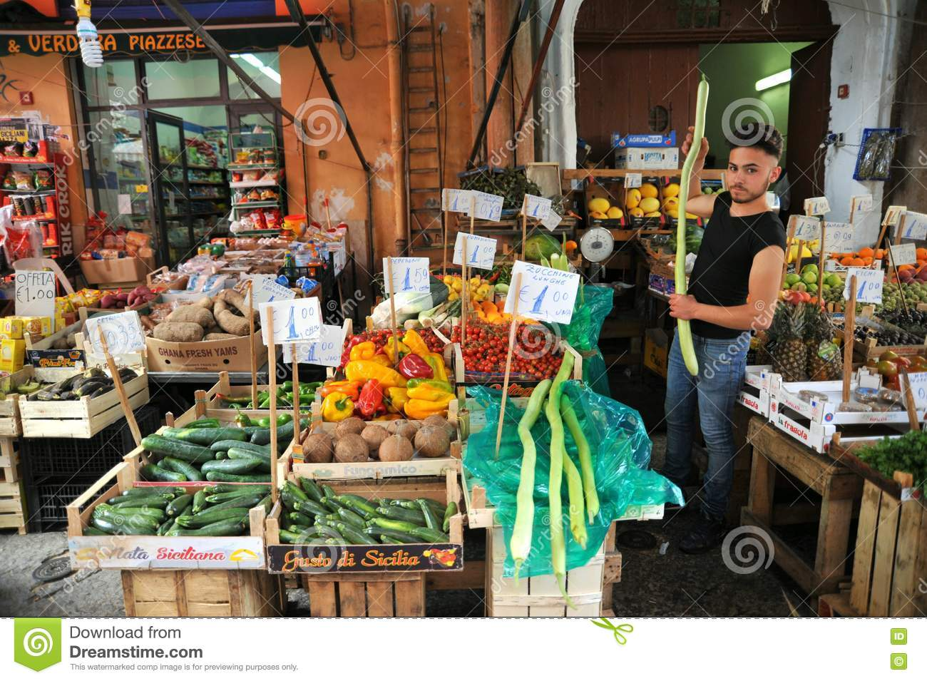 Food Market In Palermo Editorial Stock Image.